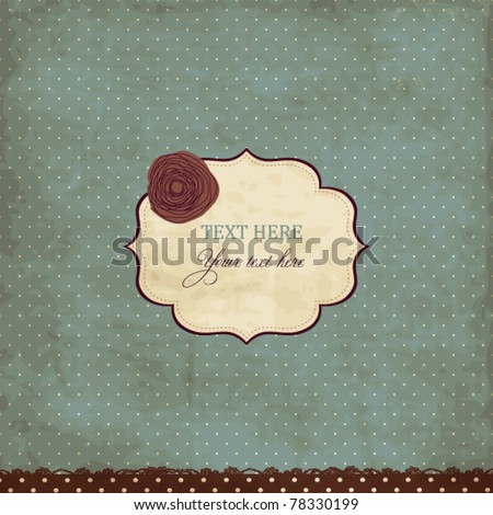 Blue vintage card with rose - stock vector