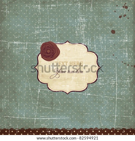 Blue vintage card with scratches - stock vector