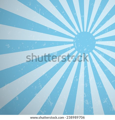 Blue vintage rising sun or sun ray background design, Vector EPS10. - stock vector