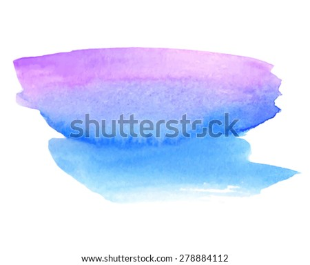 Blue violet watercolor hand drawn paper texture isolated stain on white background. Wet brush painted strokes abstract vector striped illustration. Design artistic element for banner, template, print - stock vector