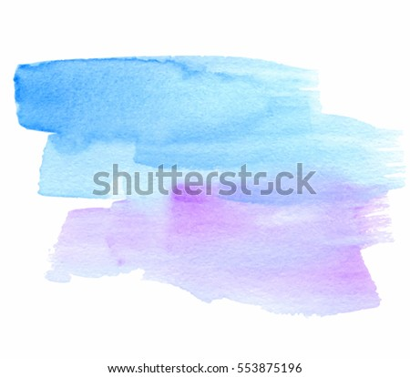 Blue violet watercolor hand drawn vector isolated stain on white background. Abstract aquarelle brush paint paper texture grunge cold bright color element for text design, blank, wallpaper