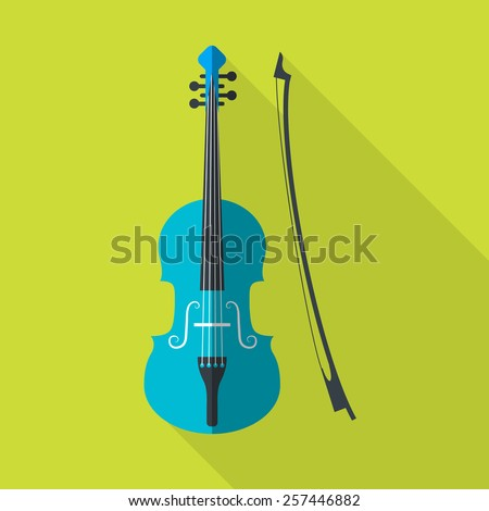 Blue violin on green background. Flat icon with long shadow. Vector illustration. - stock vector