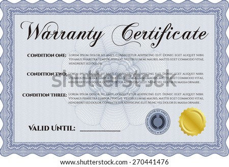 Blue warranty certificate template