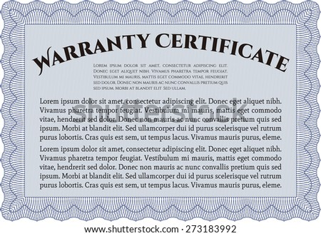 Blue Warranty Certificate Template Stock Vector Hd Royalty Free