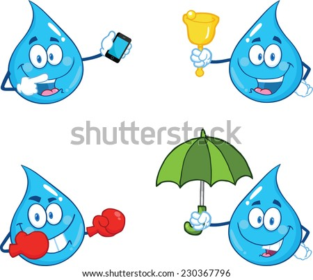 Blue Water  Drop Character In Different Poses 2. Vector Collection Set - stock vector