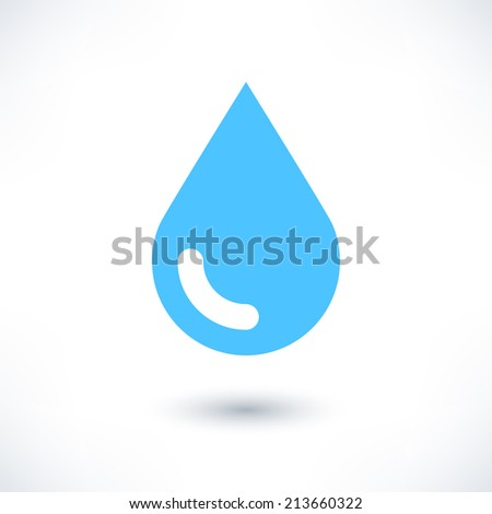 Blue water drop icon with gray shadow on white background. Simple, solid, plain, flat style. Vector illustration graphic web design element in 8 eps - stock vector