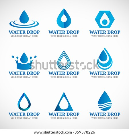 Blue Water drop logo vector set design - stock vector