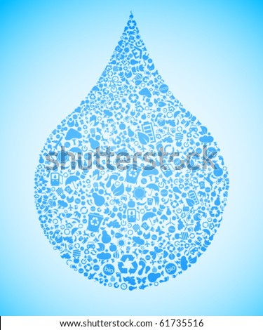 Blue water drop made out of eco icons - stock vector