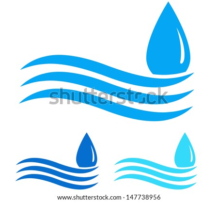 blue water droplet and wave on white background