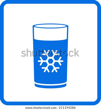 blue water glass with snowflake icon - stock vector