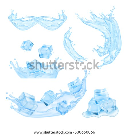 Blue water splash. Mesh with transparency. Vector set. EPS10