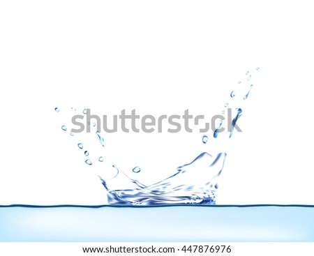 Blue water splash vector. 3d illustration. water vector. blue water splash isolated vector with water drops. Water background. Water splash vector water vector. water splash. water drop. - stock vector