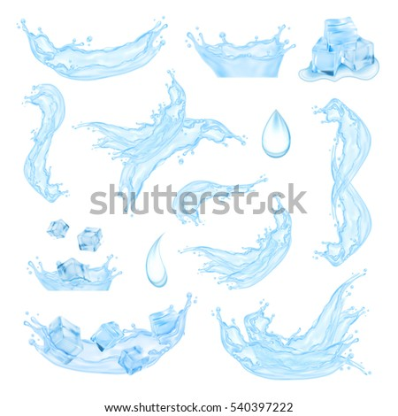 Blue water splash with ice cubes. Mesh with transparency. Vector set. EPS10