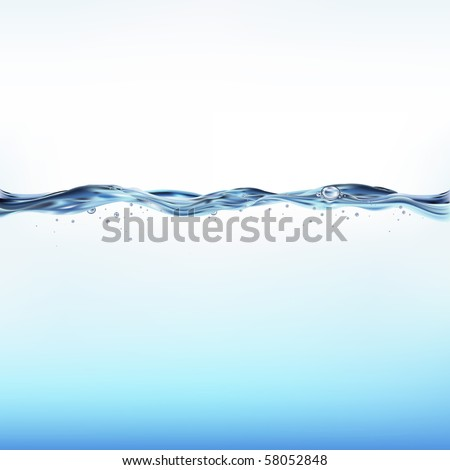 Blue Water Wave, Vector Illustration - stock vector