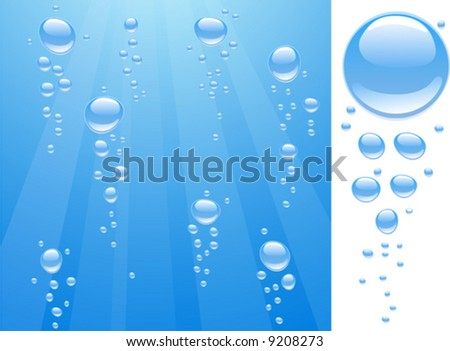 Blue water with bubbles and drops. Vector illustration. - stock vector