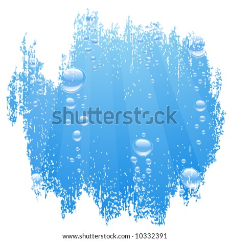Blue water with bubbles. Vector illustration. - stock vector