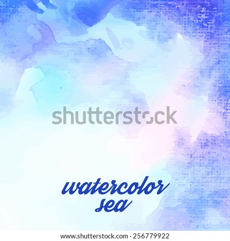 Blue watercolor background for textures and background/ - stock vector