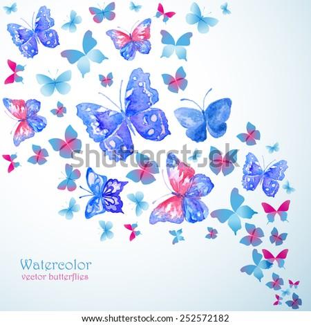 Blue watercolor butterflies. Summer banner. - stock vector
