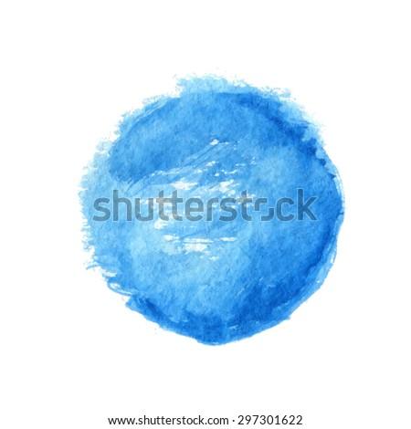 Blue watercolor circle element, vector illustration - stock vector