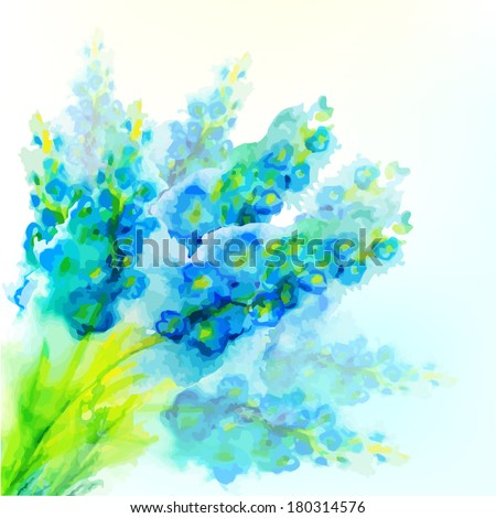 blue watercolor flowers. Vector