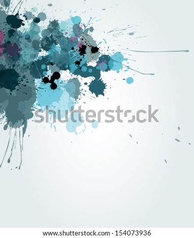 Blue watercolor splash on white background - stock vector