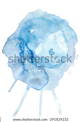 Blue watercolor splash on white background - stock vector