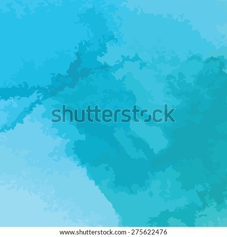 blue watercolor texture background, hand painted vector illustration - stock vector