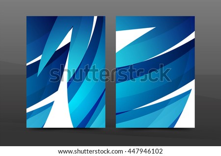 Blue wave annual report cover template. Brochure, flyer template layout, vector leaflet abstract background, A4 size page - stock vector