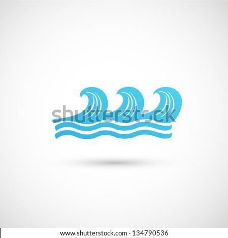 blue wave icon vector - stock vector