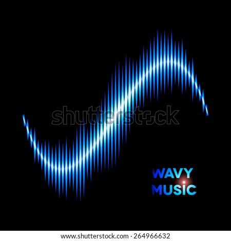 Blue wave shaped sound or music waveform - stock vector