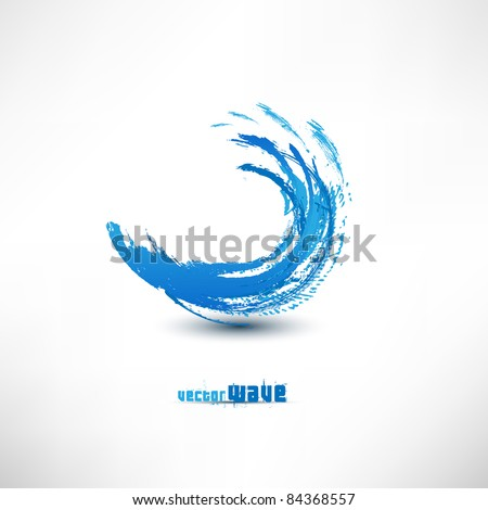 Blue wave sign - stock vector
