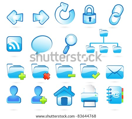 Blue web and internet  icons - stock vector