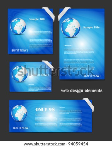 Blue Web Design Elements Set Editable as you wish - stock vector