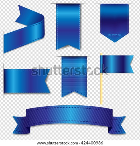Blue Web Ribbons Collection, Isolated on Transparent Background, Vector Illustration - stock vector