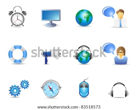 Blue website and internet icons - stock vector
