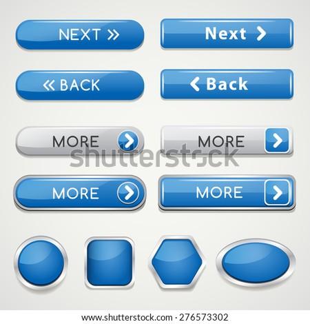 Blue Website Icon Set : Vector Illustration - stock vector