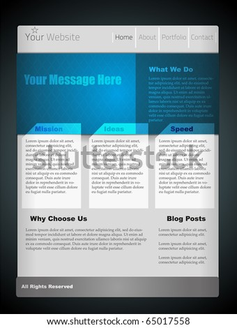 Blue website template for your design. Fully vector, enjoy! - stock vector