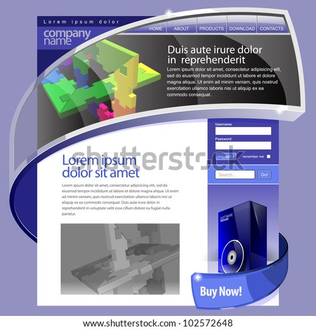Blue Website Template 960 Grid.