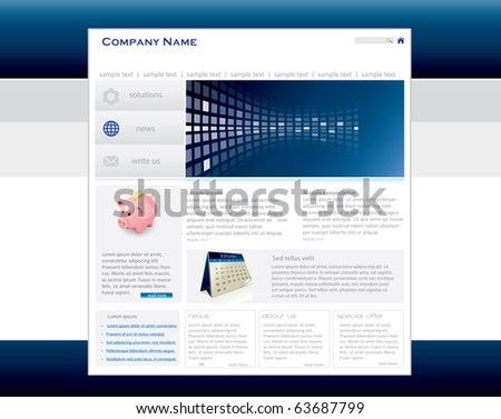 Blue website template in editable vector format - stock vector