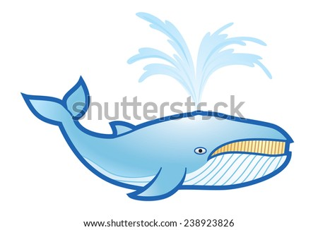 Blue whale with water - stock vector
