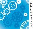 Blue wheel industrial background - stock vector