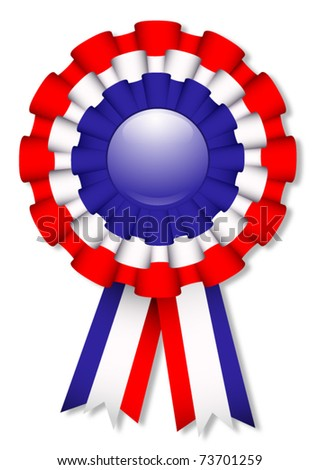 Blue, white and red cockade, vector illustration - stock vector