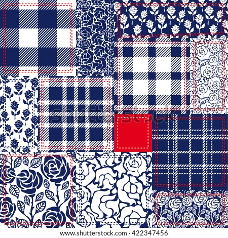 Blue, white and red patchwork. Bohemian style collage made from cotton flaps. Set of seamless vector patterns. Checkered fabrics, vintage roses, floral motifs. Retro textile collection.