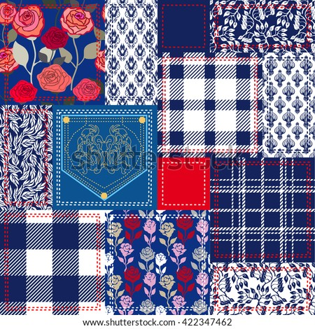 Blue, white and red patchwork. Bohemian style collage made from cotton flaps. Set of seamless vector patterns. Checkered fabrics, vintage roses, floral motifs, jeans pocket. Retro textile collection.