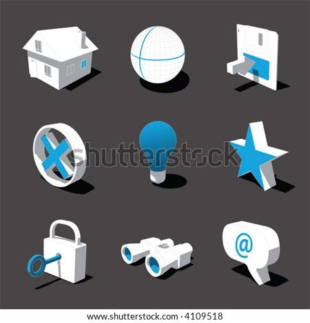 blue-white 3D icon set 01 - stock vector