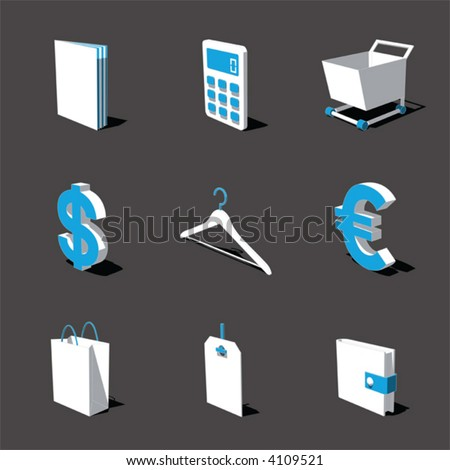 blue-white 3D icon set 06 - stock vector