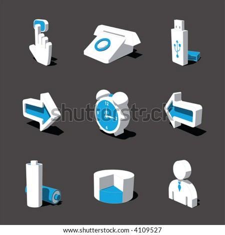 blue-white 3D icon set 03 - stock vector