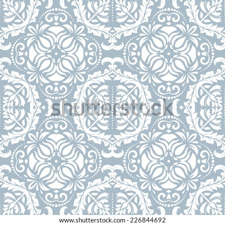 Blue-white damask vector floral pattern with arabesque and oriental elements. Seamless abstract tradiional background