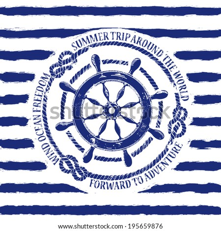 Blue white nautical emblem with sea wheel on a striped background - stock vector