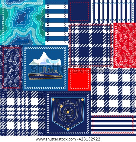 Blue, white, red patchwork with nautical motifs. Bohemian collage from cotton flaps. Set of seamless vector patterns. Checkered fabrics, ship, seabed, stripes, jeans pocket. Retro textile collection. - stock vector
